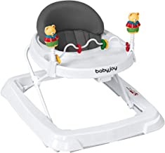 BABY JOY Baby Walker, Foldable Activity Walker Helper with Adjustable Height, Baby Activity Walker with High Back Padded Seat & Bear Toys, Gray