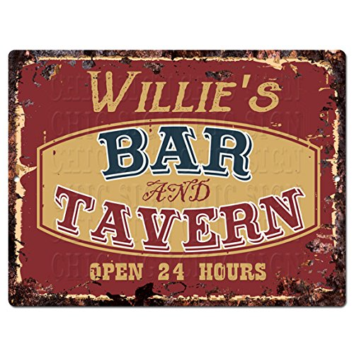 Chic Sign WILLIE'S BAR and TAVERN Tin Rustic Vintage style Retro Kitchen Bar Pub Coffee Shop Decor 9'x 12' Metal Plate Sign Home Store man cave Decor Gift