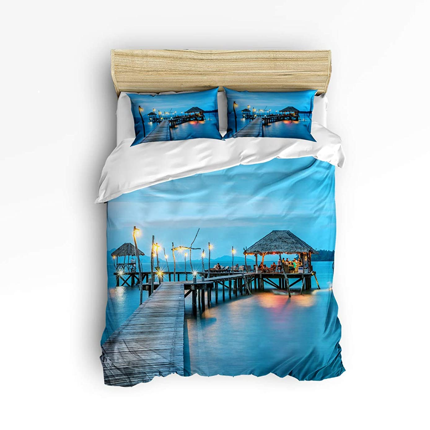 YEHO Art Gallery Queen Size Cute 3 Piece Duvet Cover Sets for Kids Adults Boys Girls,Beautiful Scenery of Holiday Village,Bedroom Decorative Bedding Set Include 1 Duvet Cover with 2 Pillow Cases