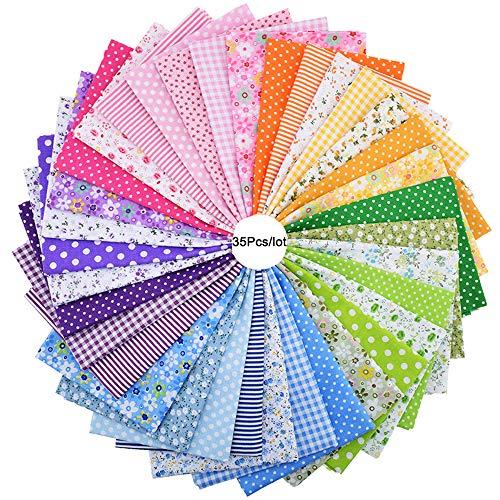 35 pièces 25 cm*25 cm Dessus Imprimé floral Tissu de coton Bundle carrés quilting Couture Patchwork chiffons DIY Scrapbooking Artcraft