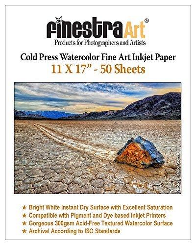 11' X 17' Cold Press Watercolor Fine Art Inkjet Paper - 50 Sheets