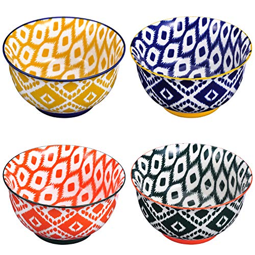 Miicol Ceramic Bowls Set of 4, Porcelain Serving Bowls for Salad Soup Cereal Pasta Rice Yogurt Dessert, Microwave Dishwasher & Oven & Refrigerator Safe, Assorted Patterns, 28 Ounces Bowls Set