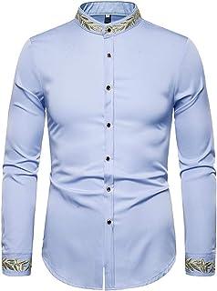 Amade メンズ 長袖シャツ 花柄 刺繍 上品 おしゃれ 形態安定 ゆる カジュアル 通勤 スタンドカラーシャツ