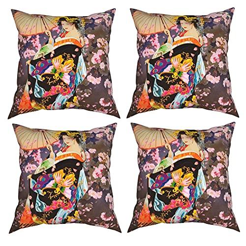 Mgbwaps Japanische Geisha-Kissenbezüge, 4er-Set, dekorative Kissenbezüge, 40,6 x 40,6 cm, quadratische Kissenbezüge, Kissenbezug für Couch, Sofa, Wohnzimmer