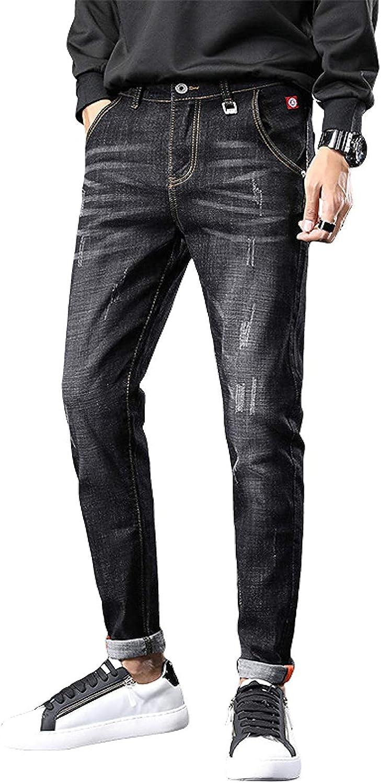 Men's Mid-Rise Jeans Autumn Retro Classic Version Trend High Elastic Slim