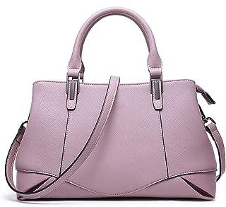 Fashion Women's Solid Color Genuine Leather Handbag Fashion Cowhide Messenger Bag Ladies Shoulder Bag Crossbody Bag (Color : Pink)