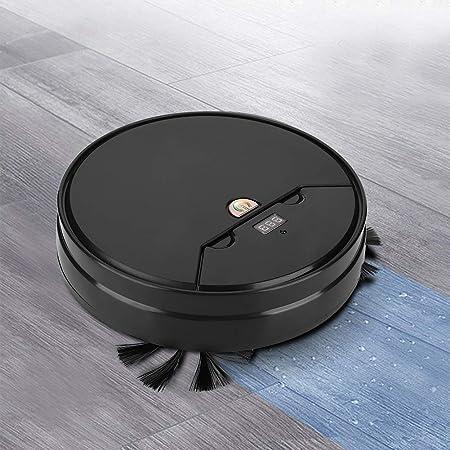 【𝐏𝐫𝐨𝐦𝐨𝐜𝐢ó𝐧 𝐝𝐞 𝐒𝐞𝐦𝐚𝐧𝐚 𝐒𝐚𝐧𝐭𝐚】 Robot Aspirador, Limpiador de trapeador de Piso de Barrido Ultrafino Inteligente Multifuncional, para Pelo de Mascotas, alfombras, Pisos Duros(Negro)