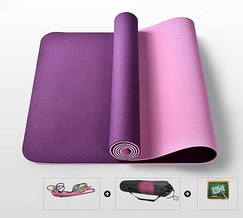 Tapis de yoga MMDP TPE Débutant épaissir 6mm élargir 66cm Allonger 183cm Antidérapant Fitness 3 Pièces