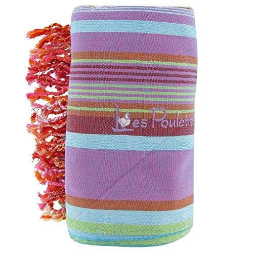 LES POULETTES Kikoy Strandtuch Cotton Stripe-Farbe lila und blau