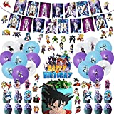 Dragon Ball Z Birthday Party Supplies, 95Pcs Dragon Ball Party Decorations Set Include Cupcake Toppers Balloons Banner Cake Topper Stickers for Kids