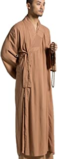Brown Men's Long Gown Traditional Buddhist Meditation Monk Robe