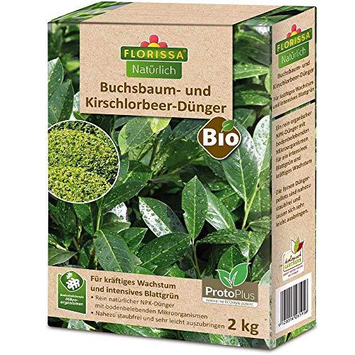 Florissa Natürlich 58595 Buchsbaum, Kirschlorbeer und immergrüne Pflanzen intensives Grün | schnellser Bio-Dünger durch ProtoPlus | haustierfreundlich, Braun
