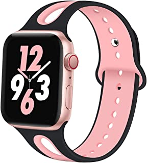 OriBear Compatible with Apple Watch Band 40mm 44mm 38mm 42mm, Breathable Soft Silicone Replacement Sport Bands for iWatch Series 5/4/3/2/1 for Women Men Girl Boy