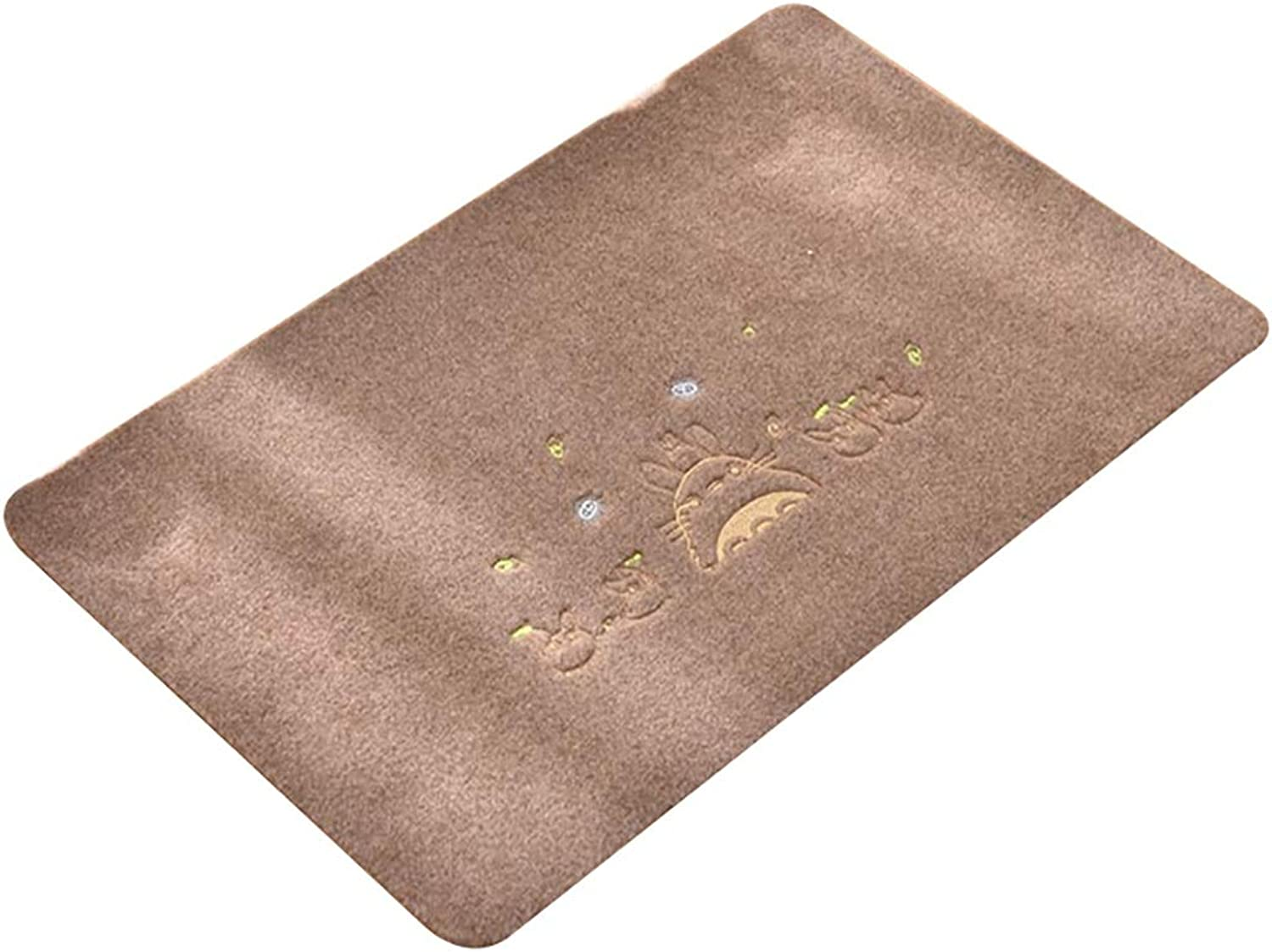 Entrance Mat, TPR Environmental Predection Non-Slip Door Mat Embroidered Carpet Polyester Surface Dust-Proof Resistance Mud Water-Absorbing Floor Mat Doormat (color   Brown, Size   80×120cm)