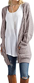 Misassy Womens Open Front Long Sleeve Boho Boyfriend Cardigans Loose Cable Chunky Knit Sweater with Pockets