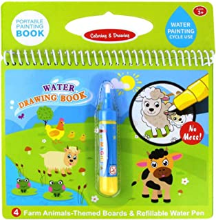 Jenilily Magic Water Drawing Book Coloring Book 7.48in X 7.87in Doodle with Magic Pen Painting Board for Children Educatio...