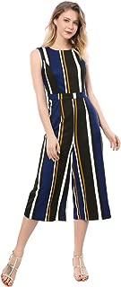 Allegra K Women's Sleeveless Round Neck Cropped Striped Jumpsuit