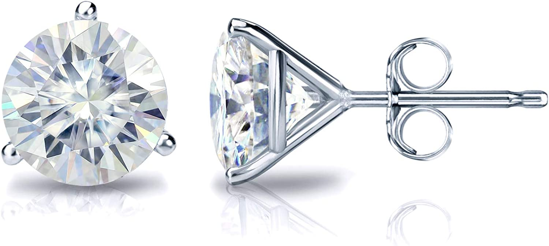 14k Gold Round Moissanite Stud Earrings (1 to 7ct TGW, J-K) 3-Prong Martini, Push-Back by Diamond Wish