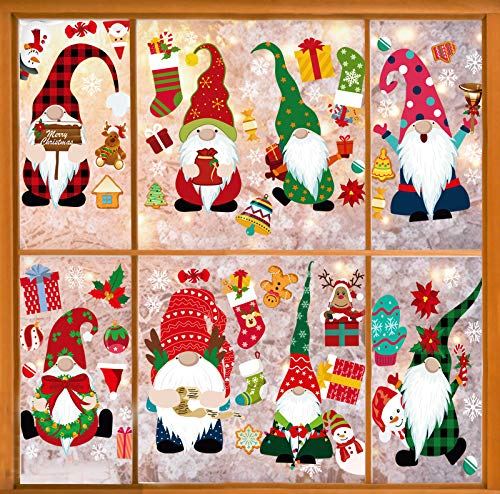 ZOISNT Christmas Window Clings ChristmasDecorations Gnome Decor Christmas Window Decals for Glass Window Xmas Holiday Home Decor - 8 Sheets