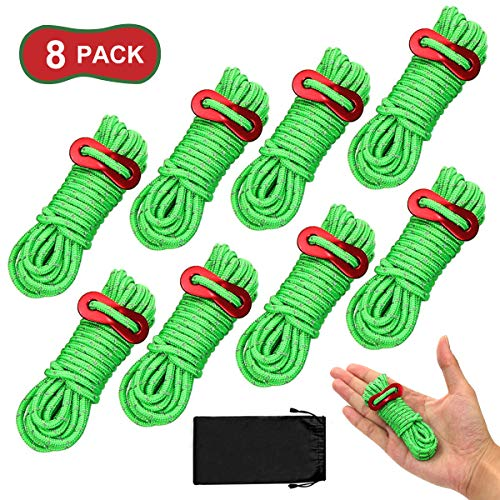 BHGWR 8 Pack Reflective Tent Guy Ropes, Light-Weight Tent Guide Lines Cord with Aluminum Tensioners Adjuster, 13 Feet Green Guy Rope Ideal for Outdoor Camping Hiking Awning Tents
