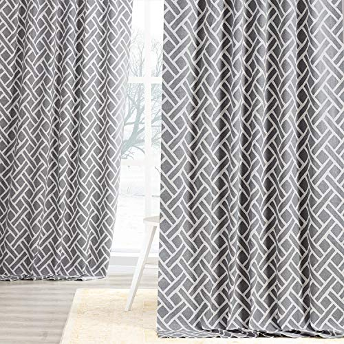 HPD Half Price Drapes PRCT-D07C-120 Printed Cotton Curtain (1 Panel), 50 X 120, Martinique Grey