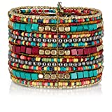SPUNKYsoul Bohemian Multi-Colored Beaded Cuff Bracelets for Women Collection (Teal/Red/Cube)