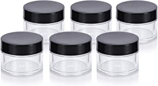 Clear Thick Wall Acrylic Travel Refillable Pot Container Jar - .50 oz / 15 ml (6 Pack) for Samples, Balms, Makeup and Cosmetics, Salves, Airtight