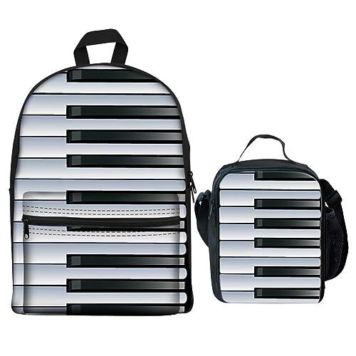 5322e4cb7 HUGS IDEA Primary School Backpack Set Piano Black White Striped Bookbag  with Lunchbox Pencil Case for