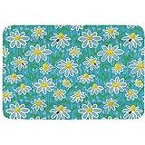 YAGEAD Cama Simple para Mascotas Amarilla y Azul, patrón de Arte de Pradera con Mariquitas y Flores de Margarita de manzanilla