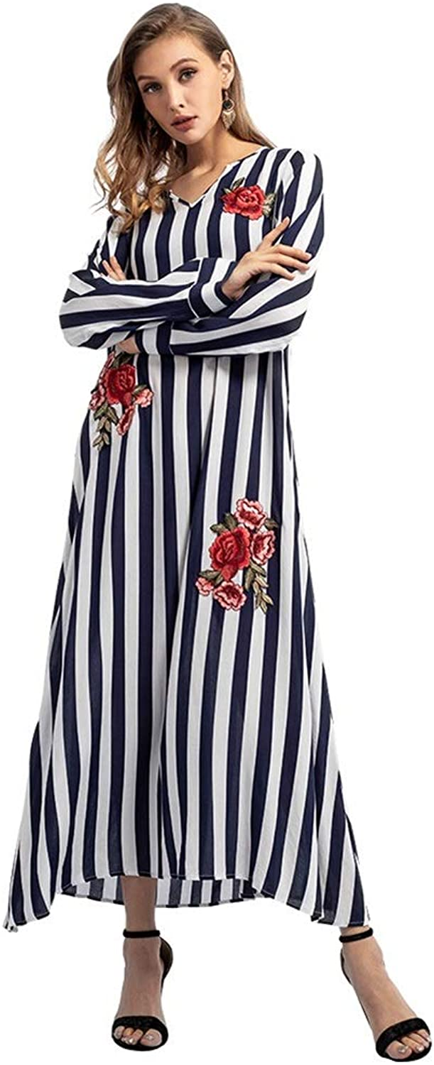 CARRY Dress, Dress, Muslim Middle Eastern Style Big Swing Comfortable Soft Long Women's VNeck Embroidered Cotton Striped Dress (Size   S)