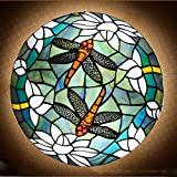 QJUZO Lámpara De Techo Tiffany Dragonfly E27 para Dormitorio, Plafón Vintage De Montaje Empotrado, Sala De Estar con Pantalla De Libélula De Vidrieras, Luz De Techo Lámpara Tiffany para Comedor,40CM