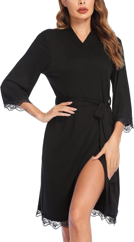 Ekouaer Robe for Women Lightweight Short Bathrobe 3/4 Sleeve Lace Trim Knee Length Sleepwear Loungewear with Belt
