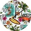 12インチの丸い木製の壁時計30cm、サーフィンバス熱帯の島夏静音 連続秒針 寝室 部屋装飾 オフィス 時計レトロ柱時計 クォーツ電池式壁時計ヴィンテージ素朴 デジタル 柱時計