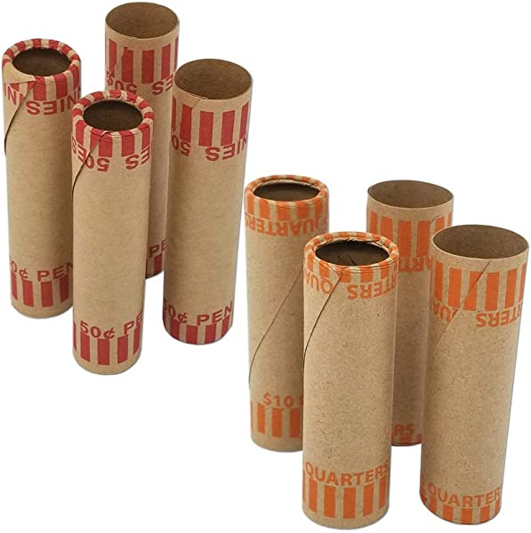 J Mark Burst Resistant Assorted Preformed Coin Roll Wrappers Made In USA 80 Count Heavy Duty Cartridge Style Coin Roller Tubes Includes J Mark Coin Deposit Slip 20 Each P Q N D