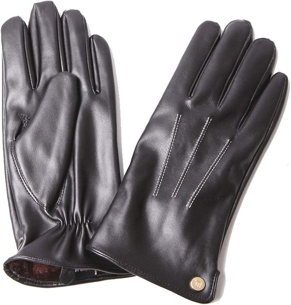 CH&FUN Womens Winter Warm Pu Faux Leather Driving Elegant Gloves Long Fleece Warm Lining