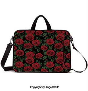 AngelDOU Customized Neoprene Printed Laptop Bag Notebook Handbag Valentines Day Retro Style Petals with Leaves Ornamental Growth Pattern Compatible with mac air mi pro/Lenovo/asus/acer Ruby Hunte