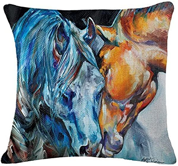 Oil Painting Horse Hand Painted Throw Pillow Case Cotton Blend Linen Cushion Cover Sofa Decorative Square 18 Inches 2