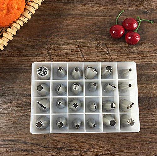 WYFC DIY inox 24 cookies crème fleurs cuisson bouche outils buse de décoration gâteau Kit buse de décoration
