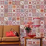 Walplus Adhesivos de pared extraíble Autoadhesivo Arte Mural VINILO DECORACIÓN HOGAR BRICOLAJE Living Cocina Dormitorio Decor papel pintado regalo Marroquí Rojo Rosa Azulejo Mosaico Pegatina - 20cm