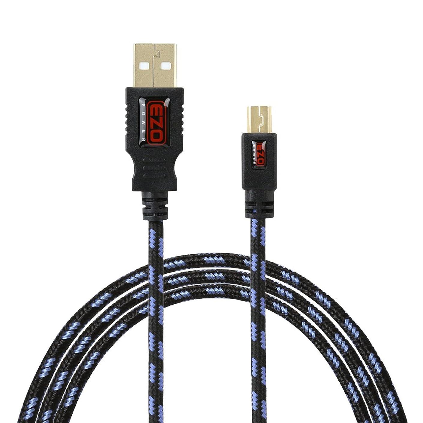 EZOPower 6 feet Mini-USB 5-Pin Tangled Free USB Data Cable for Canon Powershot/Sony/Nikon UC-E4 Replacement Digital Camera DSLR - Black/Blue