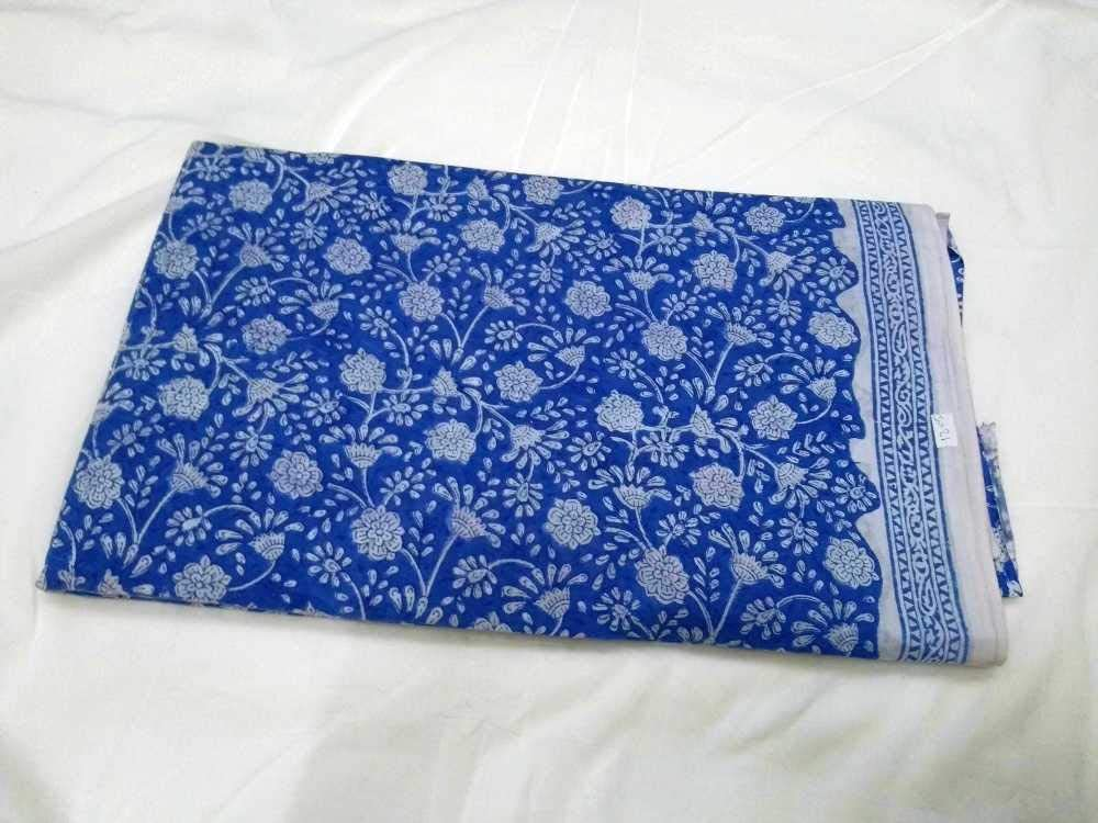 Leaf Print Cotton Fabric Indian Hand Block Printed Natural Vegetable Dye Sewing Fabric By The Yard Indigo Blue Dress Fabric