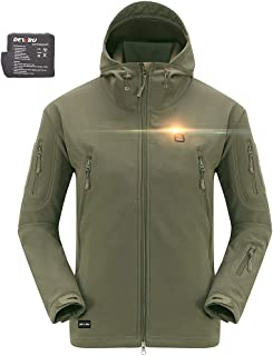 DEWBU Heated Jacket Outdoor Soft Shell Heating Clothing with 7.4V Battery Pack