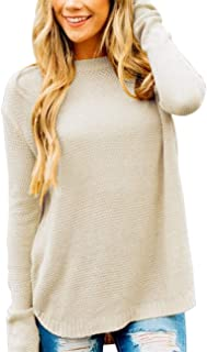 MEROKEETY Women's Long Sleeve Oversized Crew Neck Solid Color Knit Pullover Sweater Tops