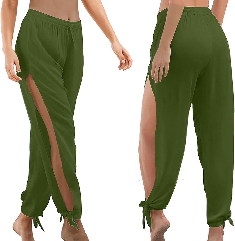 Women's Drawstring High Waist Pants Casual Side Split Pleated Jogger Pants Loose Long Workout Yoga Pant
