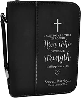 Custom Bible Cover | I Can Do All This Through Him |Personalized Bible Cover (Black Silver)