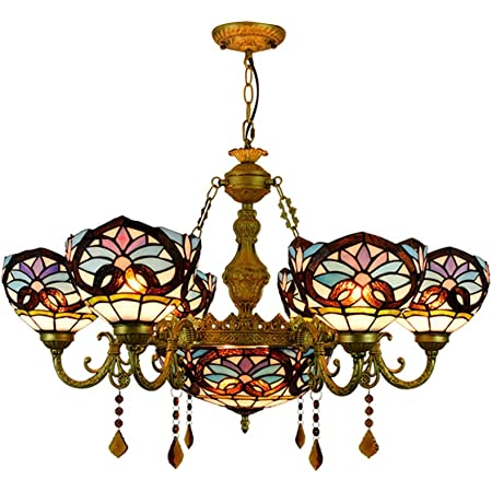 Baycheer Victorian Tiffany Lamp 7 Lights Stained Glass Dome Chandelier 32 68 Victorian Pendant Light Hanging Lamp Chain Adjustable Gorgeous Lighting In Blue