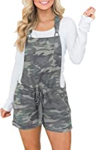 chimikeey Women's Casual Summer Camo Short Overall Jumpsuit Striped Front Flap Pocket Short Romper