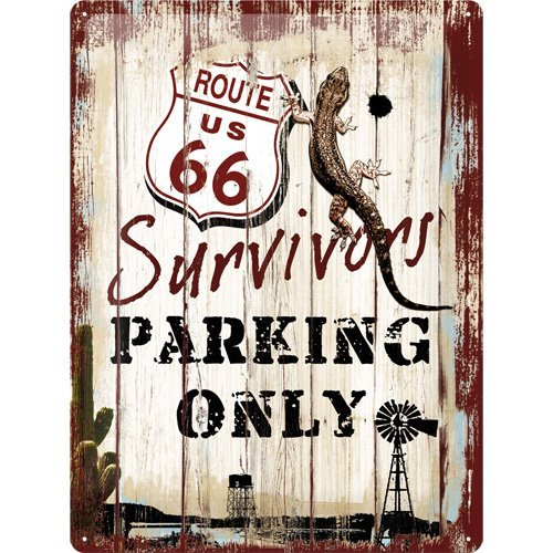 Route 66 Survivors Parking Only - Plaque en métal Panhead, 40 x 30 cm