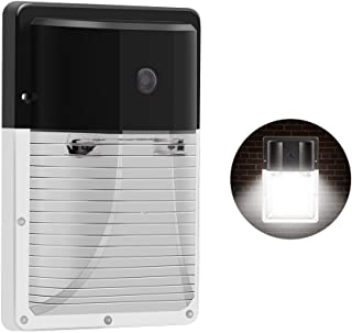 CINOTON 13W LED Wall Pack Light 1600lm,(Dusk-to-Dawn Photocell,Waterproof IP65), 100-277Vac,100-200W MH/HPS Replacement,Outdoor Security Lighting 5000K (5-Year Warranty) (1Pack-with Sensor)
