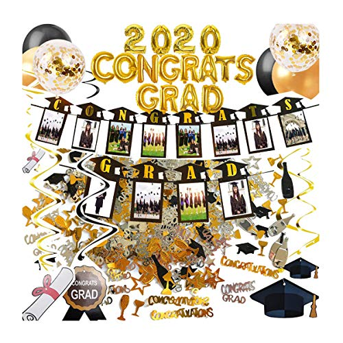 2020 Graduation Party Decorations Supplies Congrats Grad Banner, Photo Garland Banner, Hanging Swirls, Confetti, 15pcs Gold and Black Balloons, Hand Pump Included